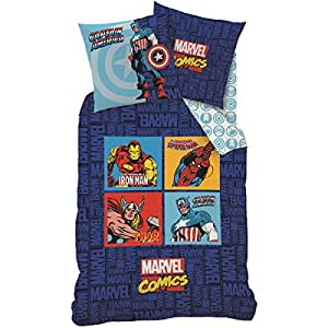 CTI 042598 - Parure de lit (2pcs) - Housse de Couette (140x200) + Taie d'Oreiller (63x63) - Imprimé Avengers Marvel Comics