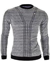 D&R Fashion Hommes Sweat en laine mélangée Casual Slim Fit rayures plus hautes tissus de qualité