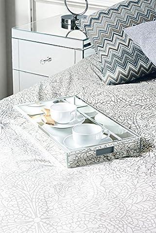 MY-Furniture - Mobilier & accessoires miroir - Plateau rectangulaire à bordures coffrées en miroir, pour coiffeuse ou service, cadeau idéal