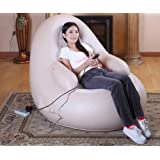 HOPZ Beige Color PVC Material European Style Inflatable Small Sofa Electric Full Body Massager Chair Sets Pain Relief…