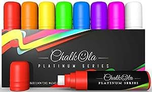 Chalk Pens - 15mm Jumbo - 3 in 1 Nib with 28g Ink - Pack of 8 neon window marker - Loved by Teachers, Kids, Artists, Businesses. Use on Chalkboard, Whiteboard, Blackboard Glass, Bistro
