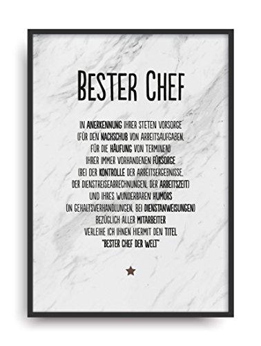 Geschenk Karte BESTER CHEF Kunstdruck Ehrentitel Mitarbeiter Auszeichnug Bild ohne Rahmen DIN A4