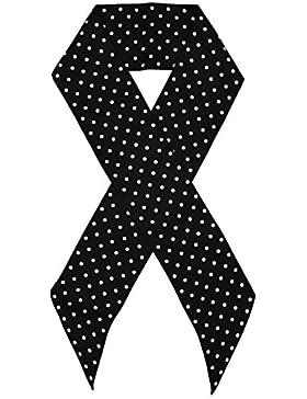 Bees Knees Fashion - Bufanda - Negro Blanco Impreso Doble Capa De Lazo Largo De Seda Bufanda