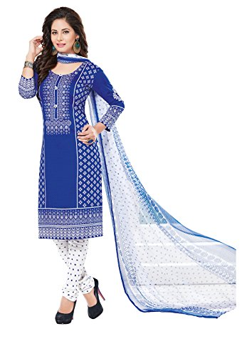 Ishin Women's Synthetic Blue & White Bollywood Printed Unstitched Salwar Suit Dress Material (Anarkali/Patiyala) With Dupatta  available at amazon for Rs.299