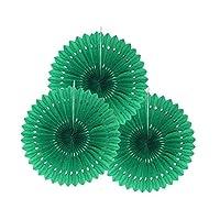 Raylinedo® Pack of 3PCS Dark Green Tissue Paper Fan For Wedding Birthday Anniversary Party Christmas Girls Room Decoration Diameter 20cm
