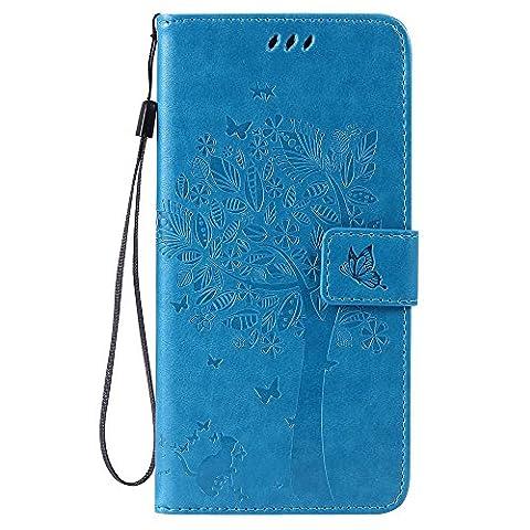 Jepson Apple Iphone 6 / 6S (4.7 pouces) coque , PU Cuir Portefeuille Etui Housse Case Cover , carte de crédit Fentes pour , L'utilisation de la technologie de pointe , gaufrage , Tree - Cat - Butterfly , idéal pour protéger votre téléphone ,