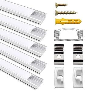 perfil: Perfil de Aluminio, Jirvyuk 5 Pack 1 m/3,3 ft Perfil de Aluminio LED para Luces ...