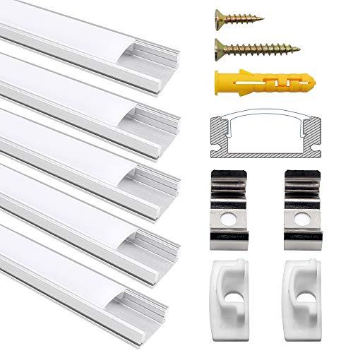 LED Aluminium Profil, Jirvyuk Led Aluminium Leisten 5 Pack 1M/ 3.3ft U-Form Aluminium Extrusion Milchig Deckel Endkappen Metall Befestigungs Clips ( Silber ) (Silber-U) 20 Montage-clips