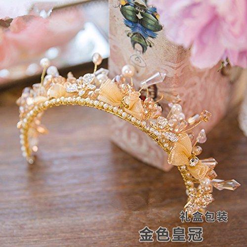 Schmuck, handgefertigte Crystal beaded Krone, goldene Krone, Haarspangen, retro Royal Crown, Zubehör, Geschenkbox, Goldene (Adult Royal Kostüme Queen)