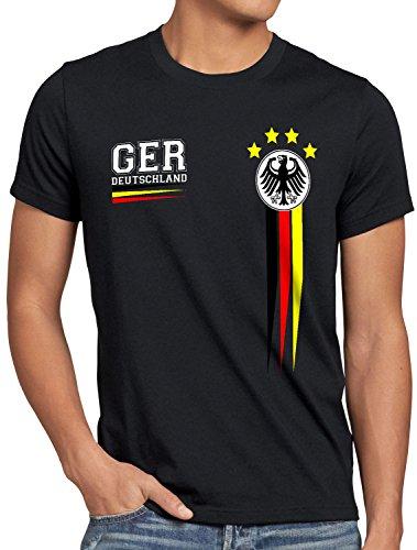 style3 Deutschland Herren T-Shirt Germany Fußball Weltmeisterschaft Trikot WM 2018, Farbe:Schwarz, Größe:5XL (Deutschland)