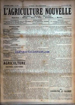 AGRICULTURE NOUVELLE (L') [No 601] du 25/10/1902 - AGRICULTURE PAR MAURION - BERTHOT - TROUDE - VITICULTURE PAR CANU - HORTICULTURE PAR MAGNIEN - ELEVAGE PAR VACHER - BRECHEMIN - GEORGE ET DE LOVERDE - APICULTURE PAR HOMMEIL - ALIMENTATION PAR TRISTCHIER par Collectif