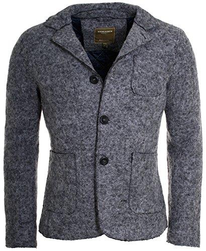 Young & Rich Herren Sakko Übergangs-Jacke Wolle Filz Blazer Trachtenjacke grau, Grösse: XL