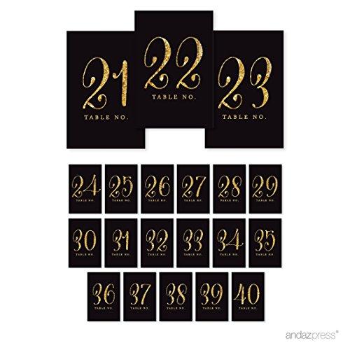 Andaz Drücken Tisch Zahlen Gold Glitzer Gold Glitter Black 21 to 40