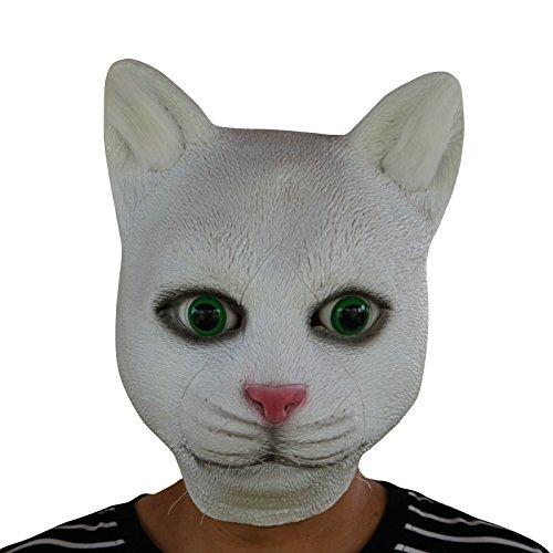 thematys Weiße Katze cat mit Glasaugen Maske - perfekt für Fasching, Karneval & Halloween - Kostüm für Erwachsene - Latex, Unisex Einheitsgröße