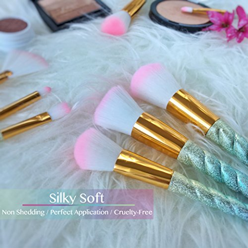 Unicorn Makeup Brushes Rainbow Premium Set 10pcs with Synthetic and Vegan Bristles | Makeup Blending Sponge and Brush Cleaner | for Foundation Eyeshadow Blush Contour Powder | FREE e-Book | By J&J
