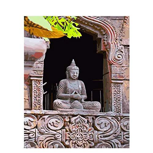 DIY Ölgemälde Malen nach Zahlen Tempel Buddha 40 x 50cm Leinwand Gemälde für Erwachsene und Kinder, Enthält Acrylfarben und 3 Pinsel(Kein Rahmen)