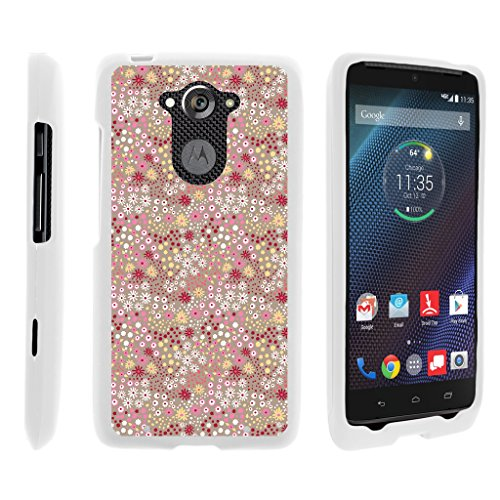 Motorola Droid Turbo Fall | xt1254 | Moto Maxx Fall [Slim Duo] Ultra Slim Matt Hartschale 2-Teiliges Cover Compact Cool Design auf Weiß von turtlearmor -, Field of Flowers (Cricket Phones Android Cell)