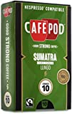 CaféPod 10 Sumatra Lake Tawar Lungo  Nespresso Compatible Capsules (Pack of 10 total of 100 Capsules)