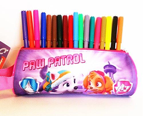Estuche cilindrico escolar PAW PATROL (PATRULLA CANINA) 100% polyester, cremallera de metal (20 x 8 x 8 cms) + 18 rotuladores multicolores