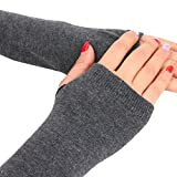 TWIFER Damen Handgelenk Arm Pulswärmer Handwärmer Gestrickte Fingerlose Handschuhe Armstulpen (34cm, Dunkelgrau)