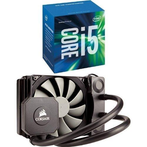 Set aus Intel Core i5-6600 Prozessor (bis zu 3.90 GHz, 65 W, 6 MB SmartCache) Silber + Corsair CW-9060028-WW Hydro Series Wasserkühler (H45 120 mm, All-In-One Performance) schwarz