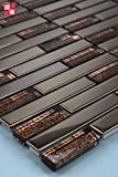 1 Matte Glasmosaik Mosaikfliesen Mosaik Glas Edelstahl Braun Bronze 30x30 8mm