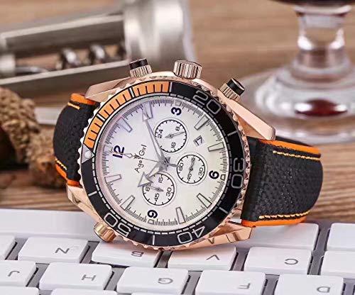 IWHSB Anduhren Für Herren Quarz Chronograph Saphir Stoppuhr Keramik Rose Gold Edelstahl Uhrenarmbänder Business Waterproof Watch 6 Zeiger Weiß