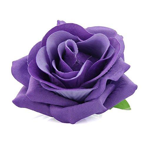 QtGirl Rose Broschen Ansteckblume Rose Haarschmuck 7cm für Hochzeit Tanz Party (Lila)