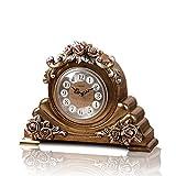 YNG Tischuhr Europäische Nachttischuhr Rose Clock Creative Sitting Uhr Ornamente Stilvolle Stille Arbeitsplatte Nachttischuhr,AAA