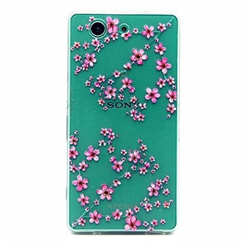 MOTOUREN Coque pourSony Z3 Compact/Z3 Mini Pouces Smartphone Gel TPU Bumper Téléphone Silicone Étui Housse Cas Cover Protecteur -prune fleur