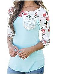 LSAltd Damen O Kragen Druck Blumen Shirt Langarm Casual Top Bluse T-Shirt