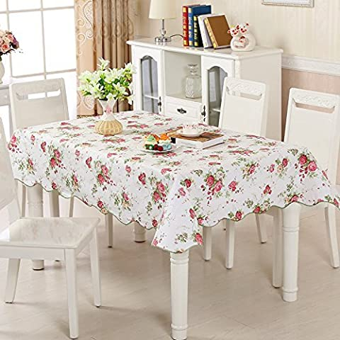 LikeYou Burgundy and Beige Blossom Flower Table Cloth Water Proof with Premium Flannel Back, PVC Table Cover Oil Resistant for Tabletop Decor (54Wx72L, Pink)