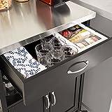 SoBuy® Servierwagen, Küchenwagen, Rollwagen mit Edelstahlarbeitsplatte,Getränkewagen fürs Büro,FKW22-SCH - 6
