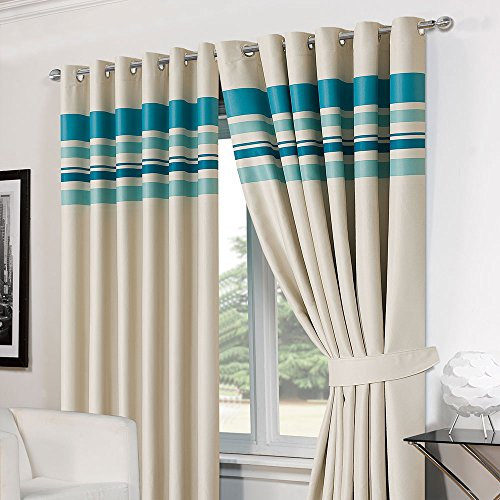 Dreamscene Striped Eyelet Lined Pair Ready Made Blackout Ring Top Curtains with Tiebacks, Teal, 46 x 54-Inch