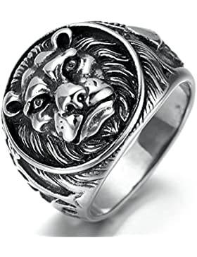 Epinki Edelstahl Herren Ringe, Löwenkopf Form Gotik Edelstahlringe Bandringe Ring Schwarz