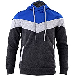 TOOGOO(R) New Autumn&Winter Patchwork Hooded Slim fit Thick fleece sweat men's clothing - Iron gray 3XL