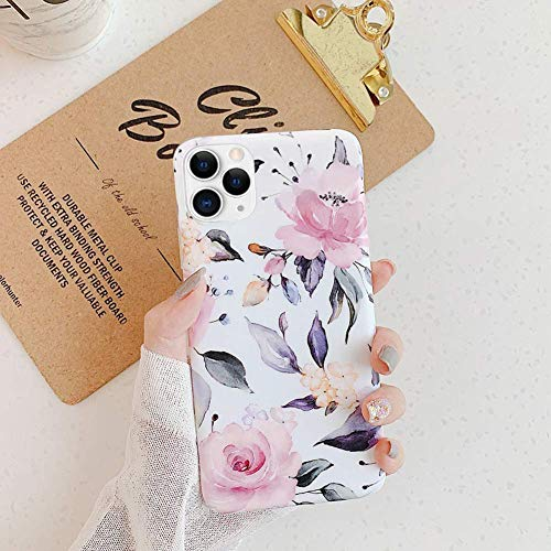 Uposao Kompatibel mit iPhone 11 Pro Hülle Crystal Case Schutzhülle mit Muster Motiv Blumen Blätter Weiche TPU Silikon Slim Stoßfest Ultra Dünn Handyhülle Backcover Tasche,Pink Blume