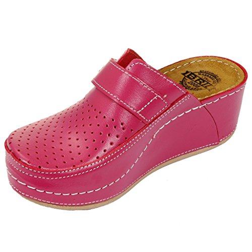 Dr Punto Rosso BRIL D130 Komfortschuhe Lederschuhe Pantolette Clog Damen Pink