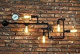 American Style Wandleuchte Retro Industrie-Wand-Lampe Balkon europäischen Stil kreative Persönlichkeit Restaurant Bar Bügeleisen Wasserrohre Wandleuchte ( farbe : Schwarz )