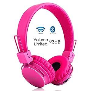 Termichy Bluetooth Stéréo Pliable on-Ear Casques, sans Fil/Filaire À Double capacité Oreillettes Bluetooth Support Carte MicroSD/Radio FM, Microphone intégré pour Les appels Mains -Libres (Rose)