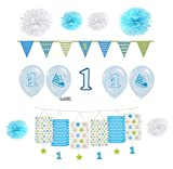 Feste Feiern 1 Geburtstag Jungen | 13 Teile Luftballon Pompom Girlande Wimpel Kerze Blau Hellblau Bunt Deko Set Alles Gute