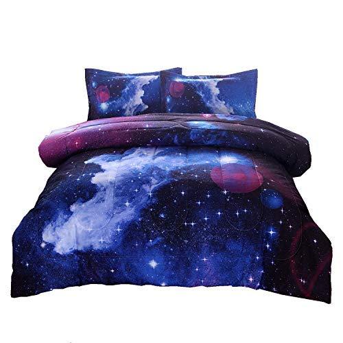 A Nice Night galaxy 3d-druck verblassen nie quilt weltraum tröster sets mit 2 passende kissenbezüge voll galaxy-012