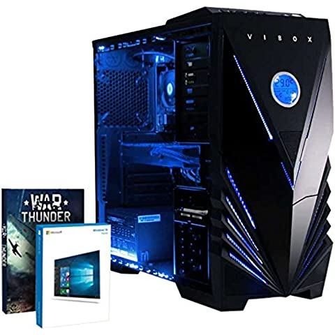 VIBOX Barbarian 10 - Ordenador para gaming (Intel i7-6700K, 32 GB de RAM, 2 TB de disco duro, Nvidia Geforce GTX 960, Windows 10) color neón azul
