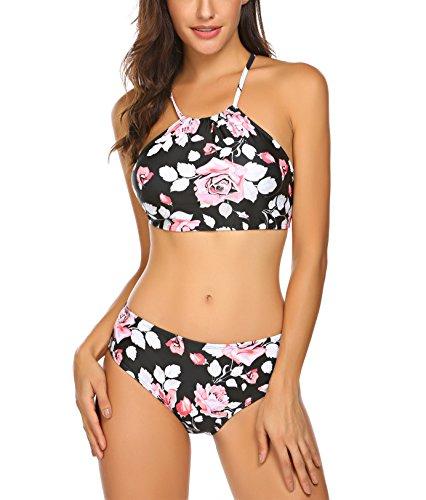 Damen Split Badeanzüge Blumendruck Streifen Bikini Neckholder Bademode Push up Swimsuit Zweiteilige Schwimmanzug für Sommer, Farbe: Blumen 2, Gr. XXL/EU 48