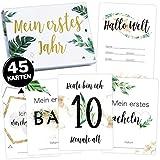 45 Schwangerschaft Baby Meilensteinkarten Tropical Green Milestone Cards Meilenstein Karten Geschenkset + Geschenkbox schöne Geschenkidee zur Geburt, werdende Mutter, Babyparty