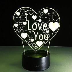 3D Visual Bulb Ilusión Óptica Colorful Led Lámpara De Mesa Toque Romántica Luz Te Amo Corazón De Navidad Decoración De La Boda Regalo Del Amante