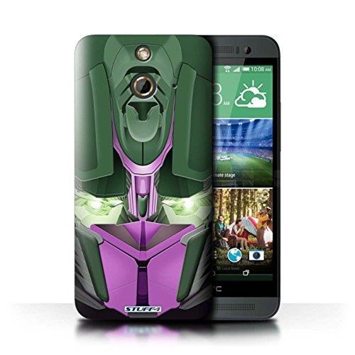 Kobalt® Imprimé Etui / Coque pour HTC One/1 E8 / Mega-Bot Bleu conception / Série Robots Opta-Bot Rose