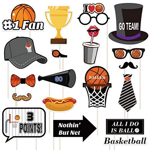 Photo Booth Requisiten Sport Thema lustige Party Papier Foto Requisiten für Jungen Basketball Fans Geburtstag Party Favors (20 Stück) ()