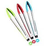 JUNGEN Silicone Tongs Food Clips For Cooking and Barbecue in Randon Color 12 Inches (Red, Green or Blue) 1-pack