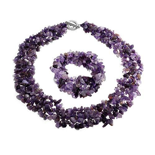 Bling Jewelry Klobig Lila Amethyst Steinschläge Erklärung Bib Collier Halskette Für Damen Kragen Armband Für Damen 18 Zoll